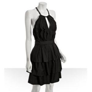 BCBGMaxAzria Black Swiss Dot Tiered Halter Dress